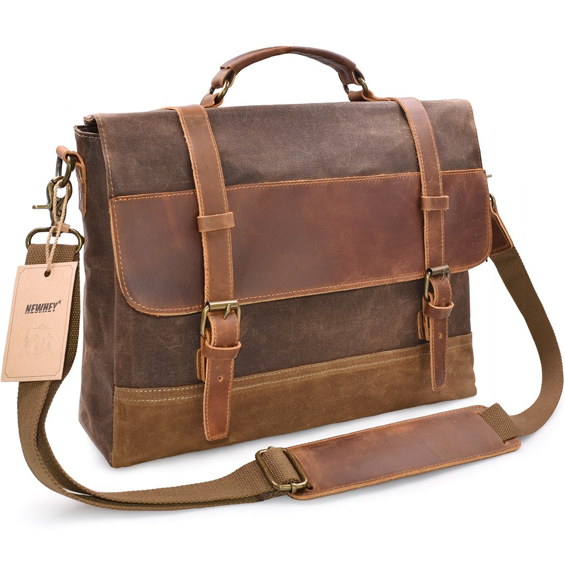 NEWHEY Mens Messenger Bag Waterproof Canvas Leather Computer Laptop Bag  15.6 Inch Briefcase Case Vintage Retro Waxed Canvas Genuine Leather Large  Satchel ... b460fdfd53e84