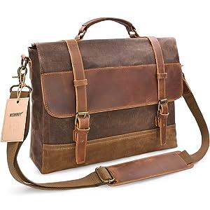 NEWHEY Mens Messenger Bag Waterproof Canvas Leather Computer Laptop Bag 15.6 Inch Briefcase Case Vintage Retro Waxed Canvas Genuine Leather Large Satchel Shoulder Bag College Brown