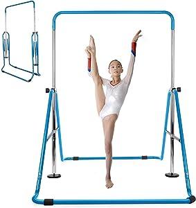 INTEY Gymnastics Bar for Kids, Gymnastics Training Bar, 4 Levels Height Adjustable Gymnastics Equipment for Home, Gift for Teens, Child, Boys, Girls