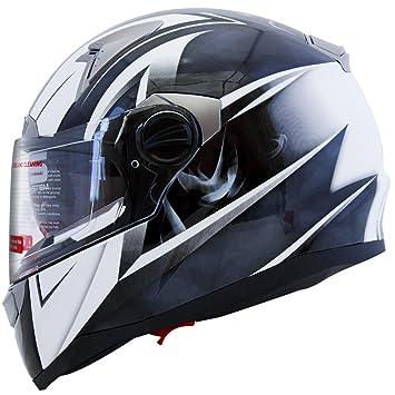 7eef1da0 Mega Z Black White Dual Visor Street Bike Full Face Motorcycle Helmet DOT  (XL), Helmets - Amazon Canada