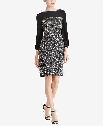 Lauren Ralph Lauren Women S Two Tone Dress Black White 10 At Amazon