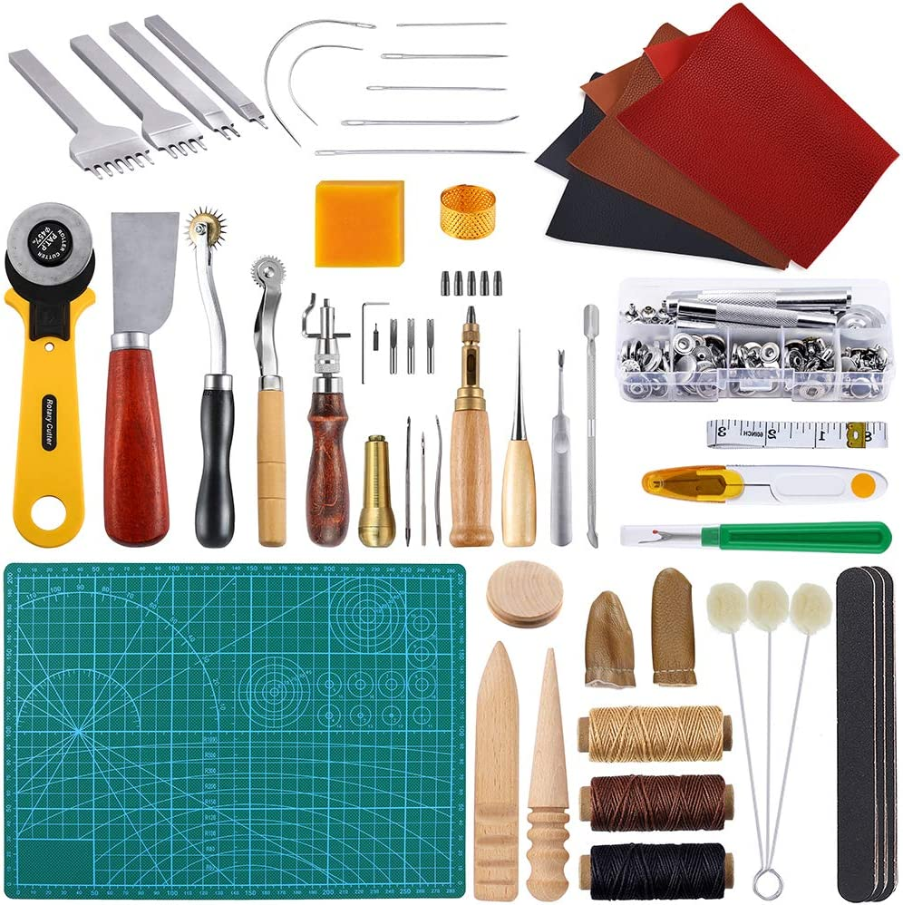 Edge Grinding Grooving Cutting Auihiay 58 Pieces Leather Craft Tools Kit with Leather Sewing Punching Snap Fasteners and Rivets Tools for DIY Leather Craft