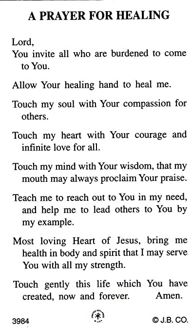Amazon com : A Prayer for Healing Holy Card : Other Products