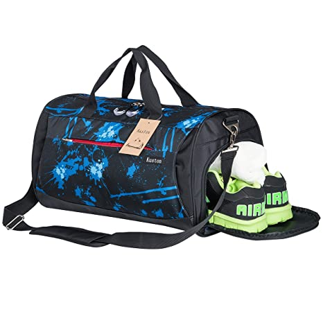 2ff86cc8e40c3 Kuston Sports Gym Bag with Shoes Compartment Travel Duffel Bag for Men and  Women (Blue