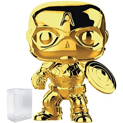 Marvel Studios 10th Anniversary - Captain America (Gold Chrome) Funko Pop! Vinyl Figure (Includes Compatible Pop Box Protector Case): Toys & Games
