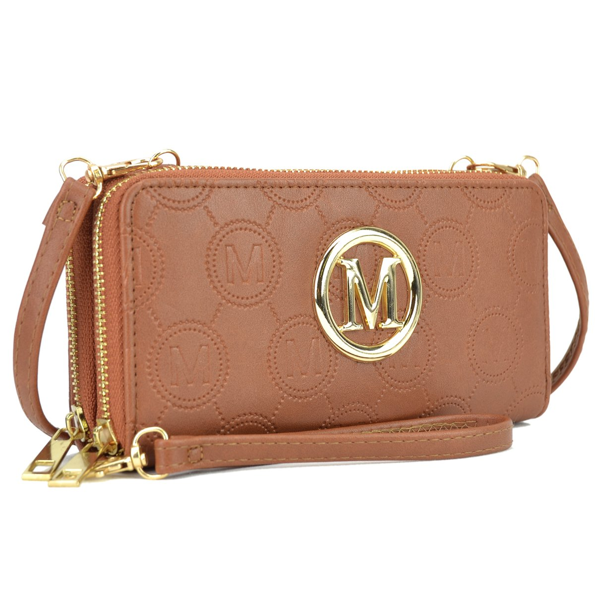 1083 Brown Functional Lightweight Crossbody bags for Women Simple Double Zip Around Should Bags Wallet Card Case Holder Organizer