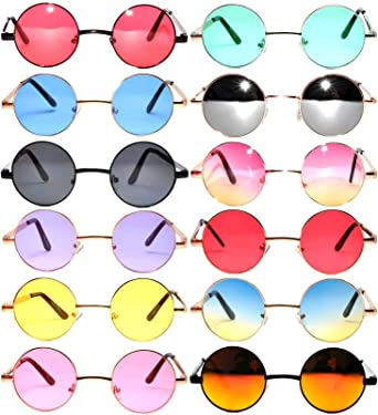 e1f31bb573 Round Retro Vintage Circle Tint Sunglasses Metal Colored Frame Mirror Lens  OWL (round 43 Mix E 12p
