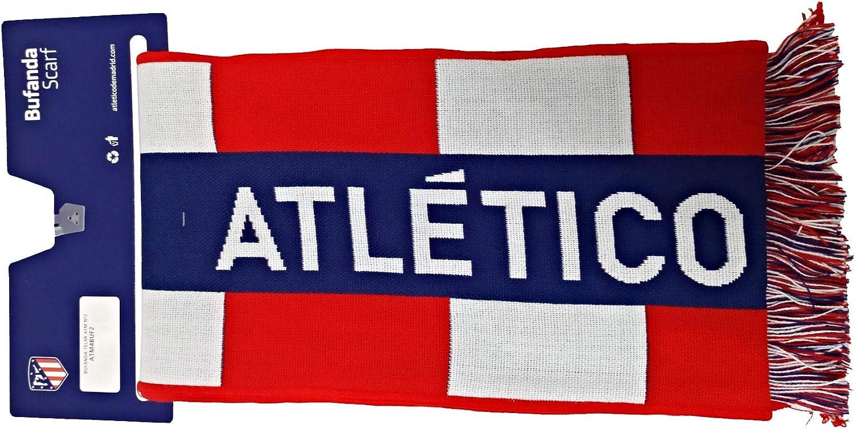 Bufanda Telar Atlético de Madrid Rayas Vertical - Nuevo Escudo - Azul Marino - Rojo - Blanco: Amazon.es: Deportes y aire libre