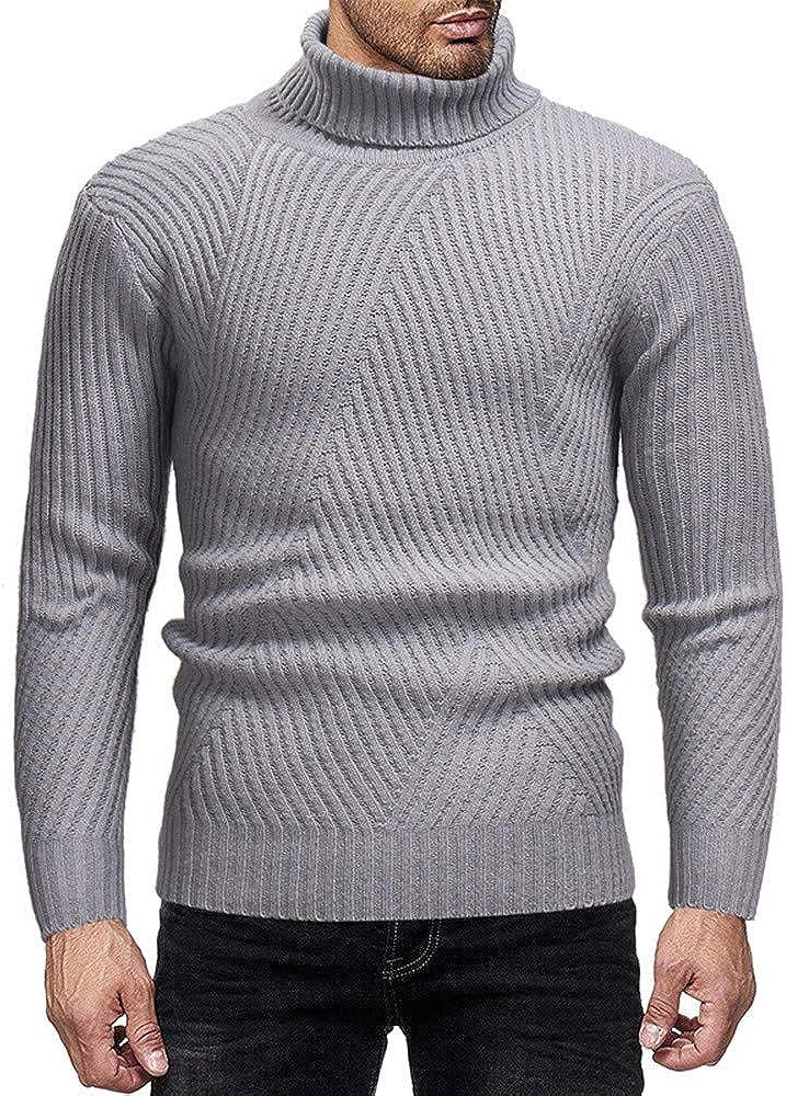 Pull /à Col Roul/é pour Hommes Cebbay Sweater /à Manches Longues Col Montant Pullover Chaud en Tricot Chaud Sweatshirt en Hiver Top Classics L3-L5