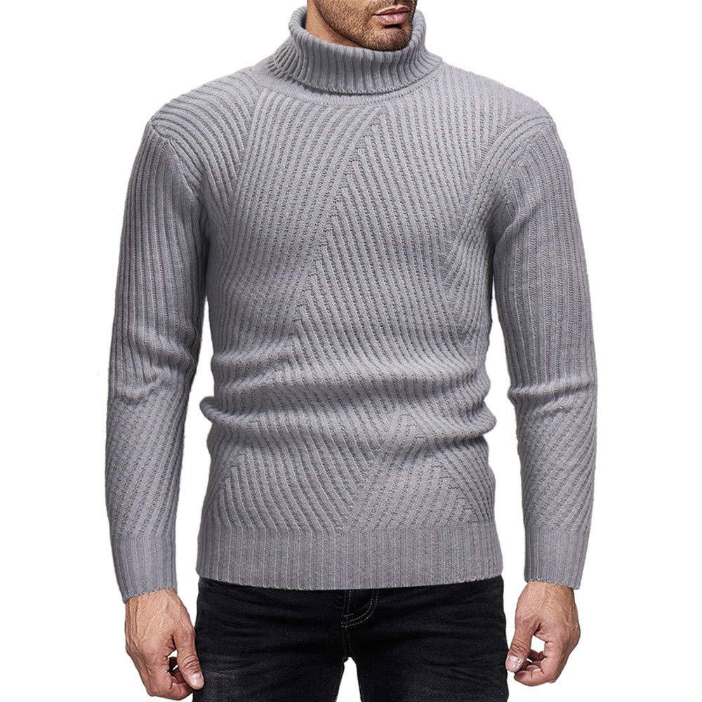 LuckyGirls Punto Suéter para Hombre de Manga Larga Camisetas Moda Rayas Cuello Alto Casual Poleras Polo Sudaderas Entallada Chándales Jerséis