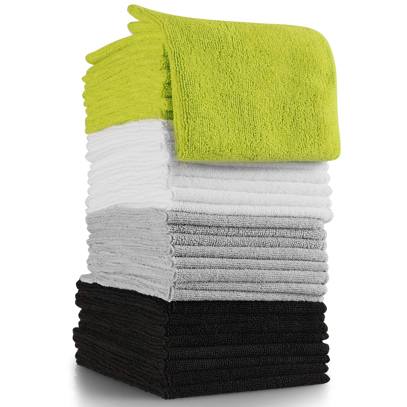 OxGord Microfiber Cleaning Cloth 64pc Pack Bulk Duster Rag Sponge for Car Wash Auto Care Thick Large for Glasses Kitchen Dish