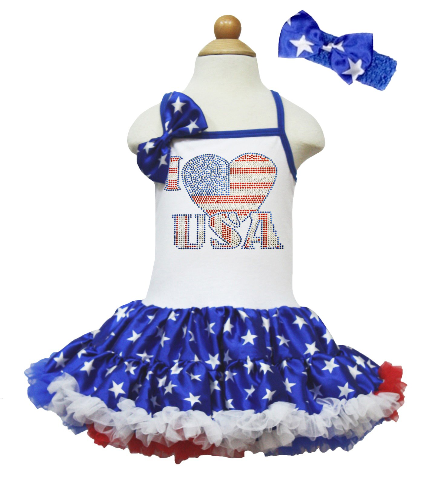 Petitebella I Love USA White Halter Patriotic Blue Star Dress 1-8y (4-5year)