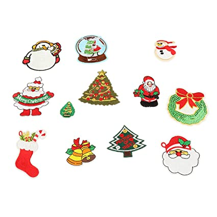 Embroidery Snowman Xmas Flower Patch Badge Sew Iron On Fabric Applique Craft-UK