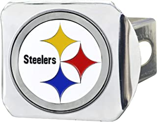 """product image for FANMATS 22603 NFL Pittsburgh Steelers Metal Hitch Cover, Chrome, 2"""" Square Type III Hitch Cover,White"""
