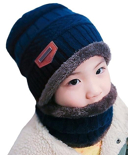 Kfnire cappello e sciarpa per bambini inverno set cappello caldo lavorato a  maglia a maglia spessa per bambino in morbida fodera di lana (blu)  Amazon. it  ... 45a854a22406