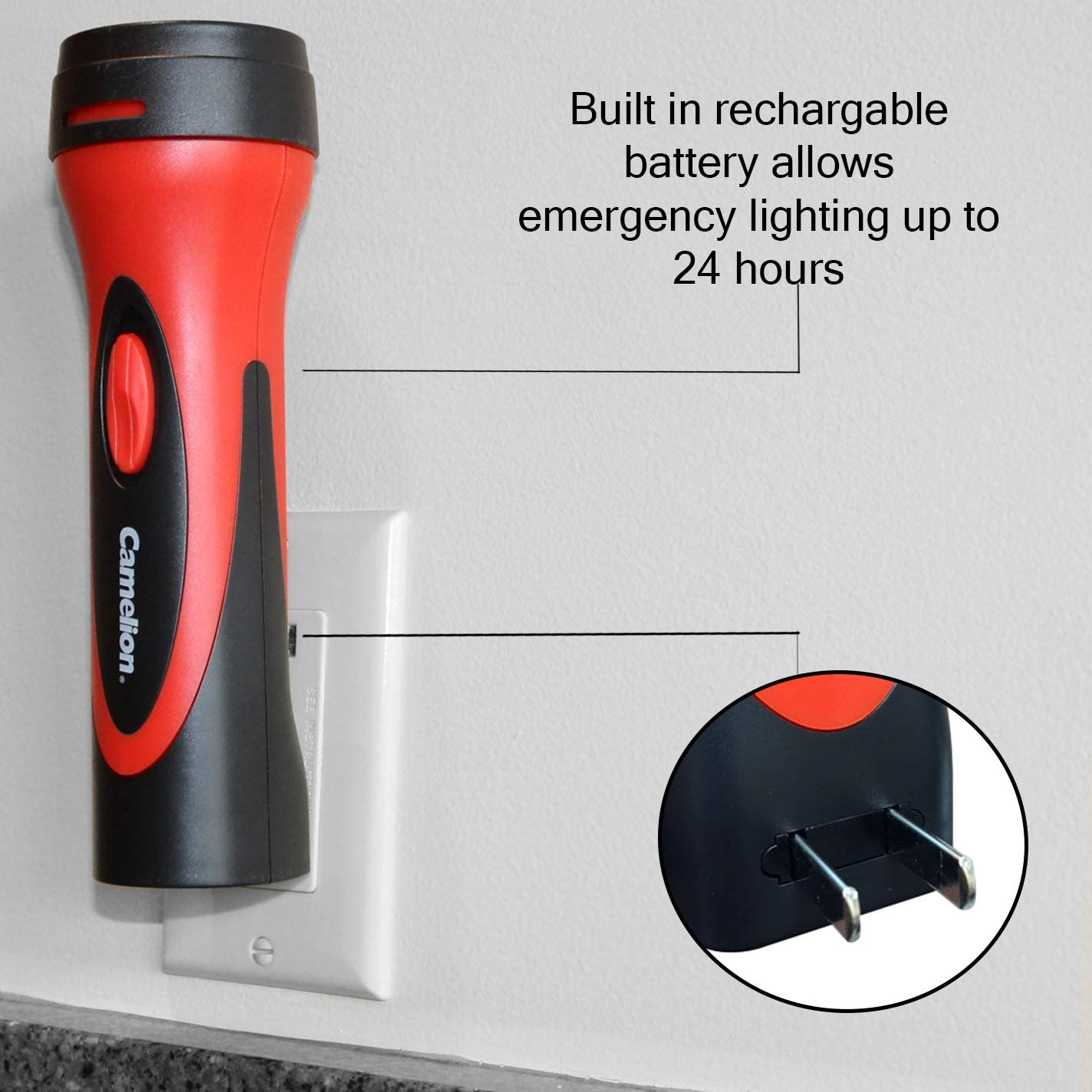 Camelion 6 LED Plug in Rechargeable Emergency Blackout Flashlight 2 Count up to 24 Hours of Continuous Lighting