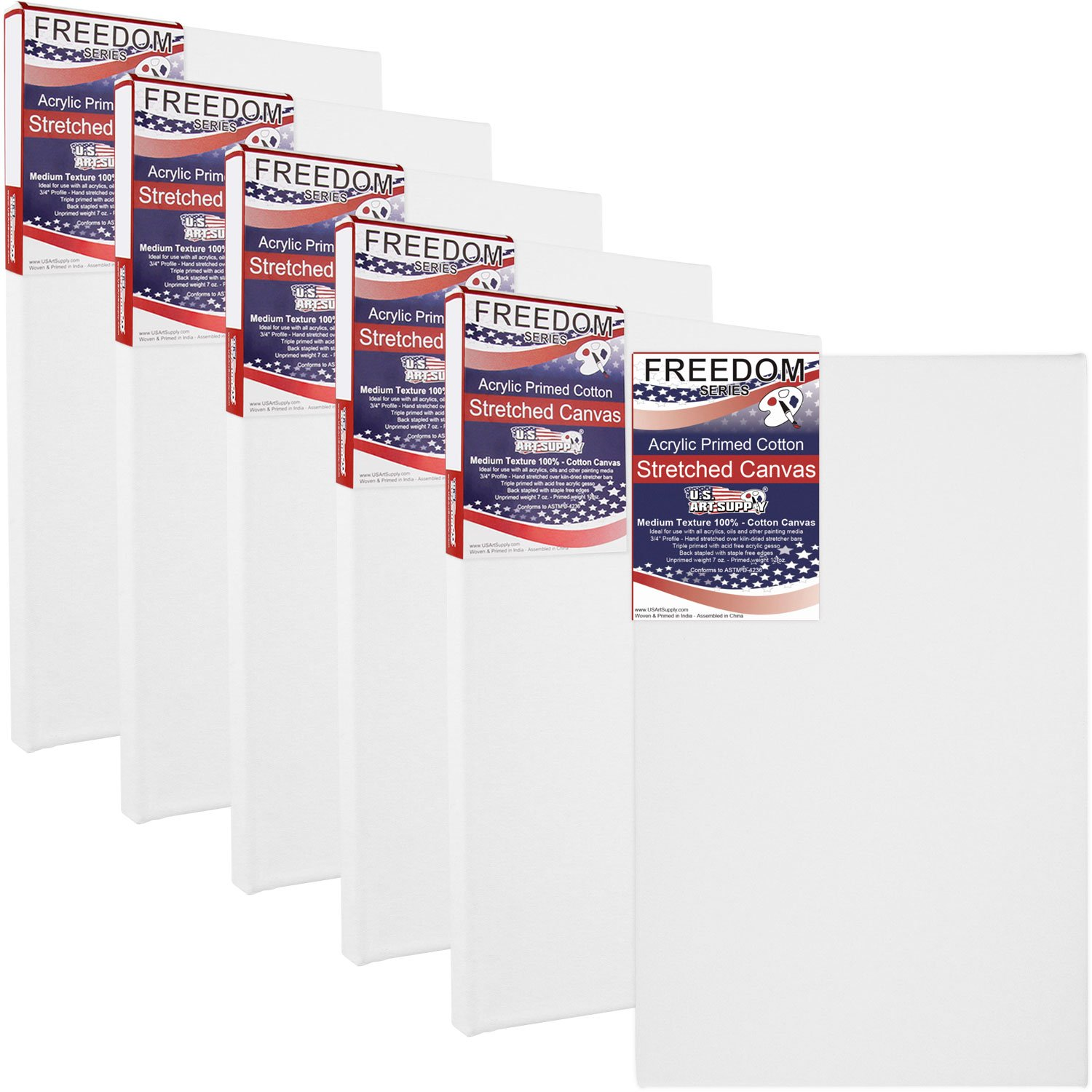 US Art Supply 24 X 48 inch Professional Quality Acid Free Stretched Canvas 6-Pack - 3/4 Profile 12 Ounce Primed Gesso - (1 Full Case of 6 Single Canvases)