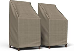 Budge P1A01PM1-2PK English Garden Patio Stack of Chairs Barstool Cover (2 Pack) Heavy Duty and Waterproof, Chairs Chair (2-Pack), Tan Tweed