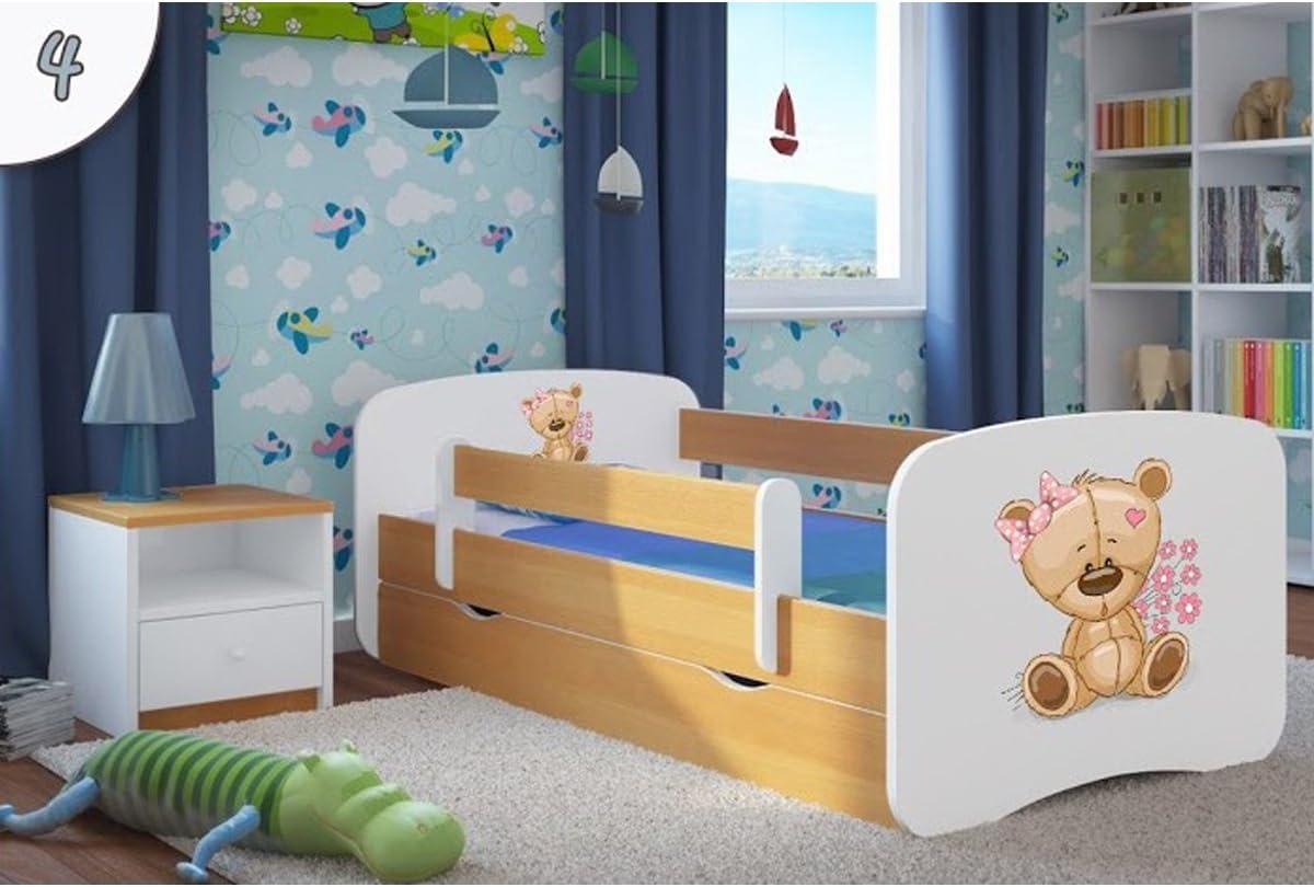 Kocot Kids Cuna Cama 70 x 140 80 x 160 80 x 180 Haya con protección Anti Caídas Colchón cajón y somier Camas Infantiles para niña y niño