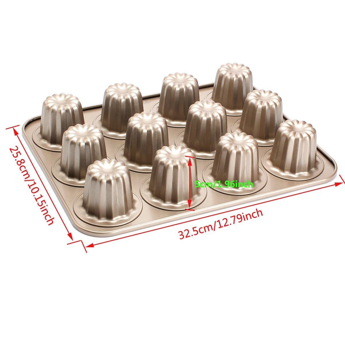 Cannele Mould, Geila 12-Cavity Canneles de Bordeaux Molds Nonstick Carbon Steel Canneles Baking Pan Cake Bakeware Geila Co. Ltd