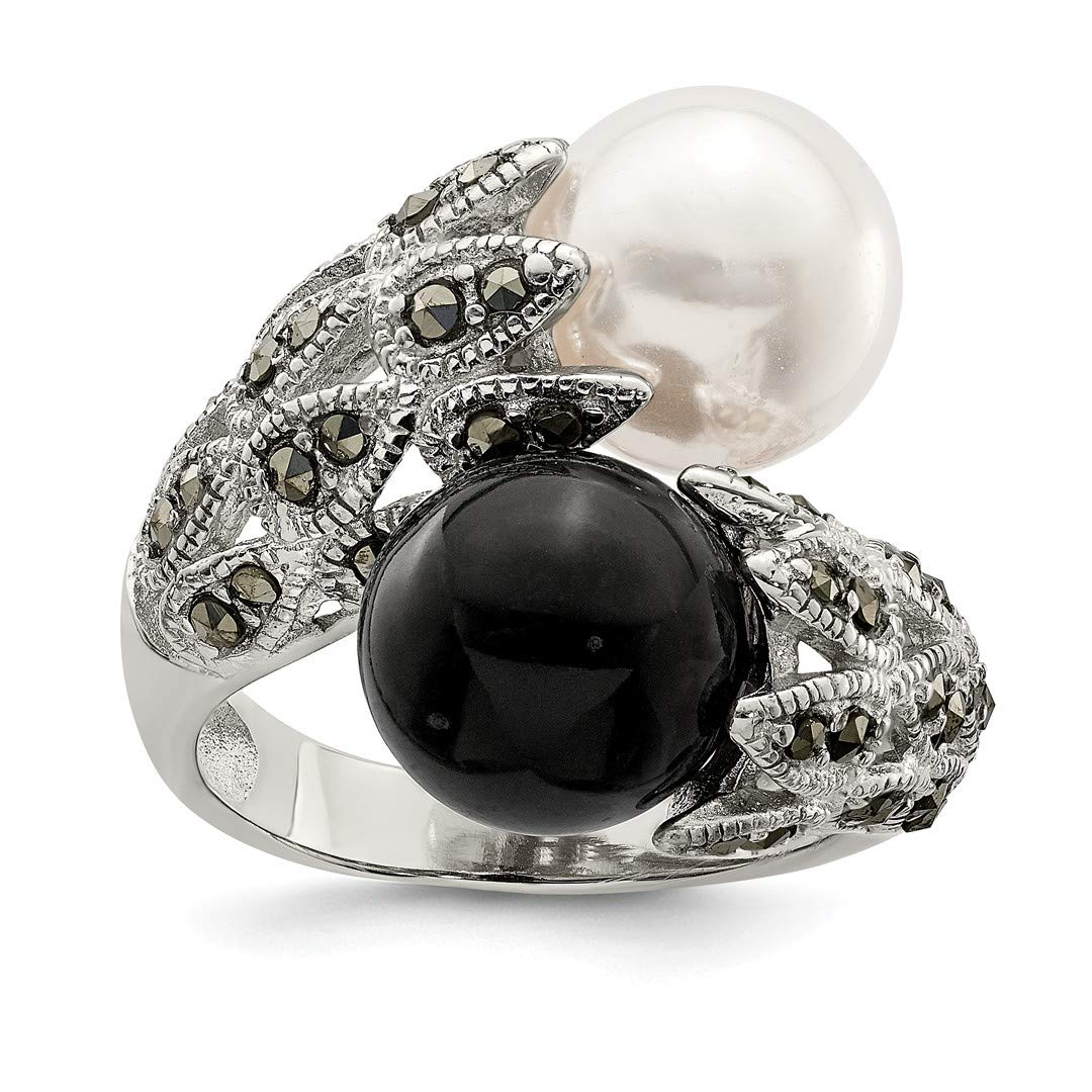ICE CARATS 925 Sterling Silver Marcasite Black White Freshwater Cultured Pearl Band Ring Size 8.00 Fine Jewelry Ideal Gifts For Women Gift Set From Heart