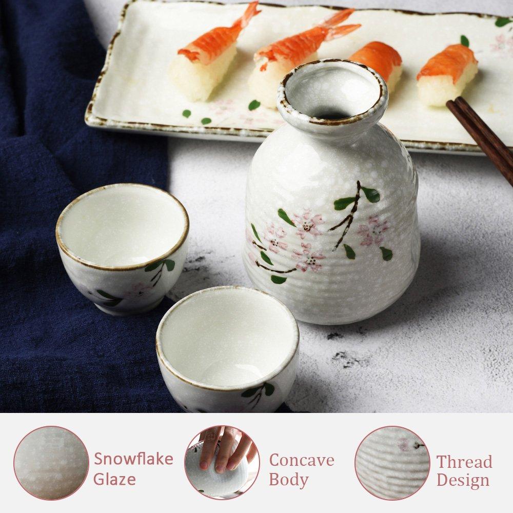 Juego de sartenes de cerámica pintada a mano con cristales de cerezo y un atractivo juego de moldes para modelar, una botella y 2 tazas de sake de BANFANG: ...