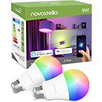 Novostella E27 LED Smart RGBW Bulb, Colour Changing WiFi Light Bulb, Dimmable Timing, Work with Alexa Google Home IFTTT, (RGB + Warm White, 9W=75W Hal Bulb, 900lm, 2 Pack, No Hub Required)