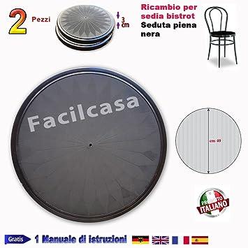 Facilcasa - Repuesto para silla de metal Bistro. Asiento redondo, Repuesto de plástico a presión para silla ...