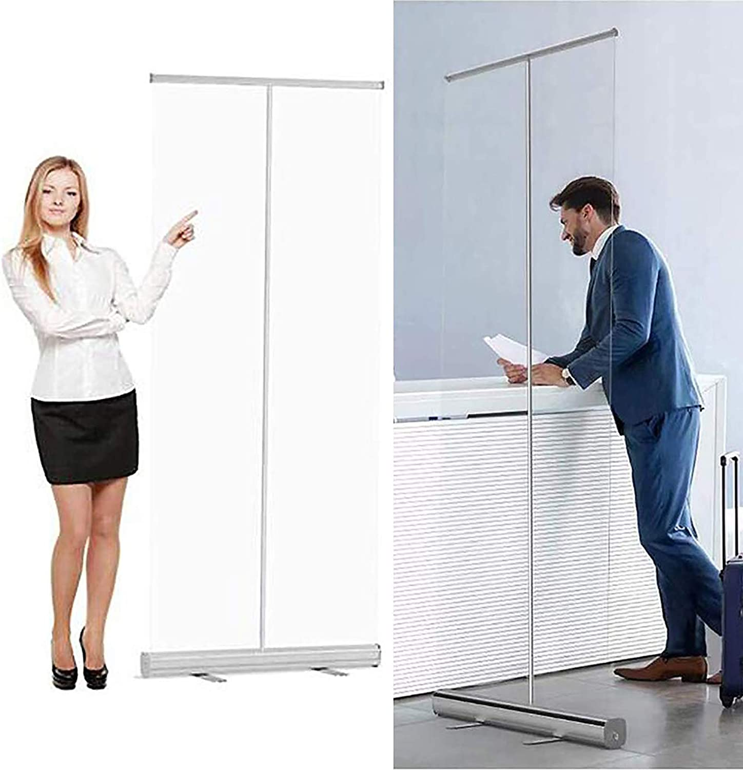 Social Distancing Screen Transparent Partition Screen Quick and Easy Assembly Spit Protection HHXX Roller Pull Up Clear Banner Floor-Standing Sneeze Guard Protection Screen room dividers