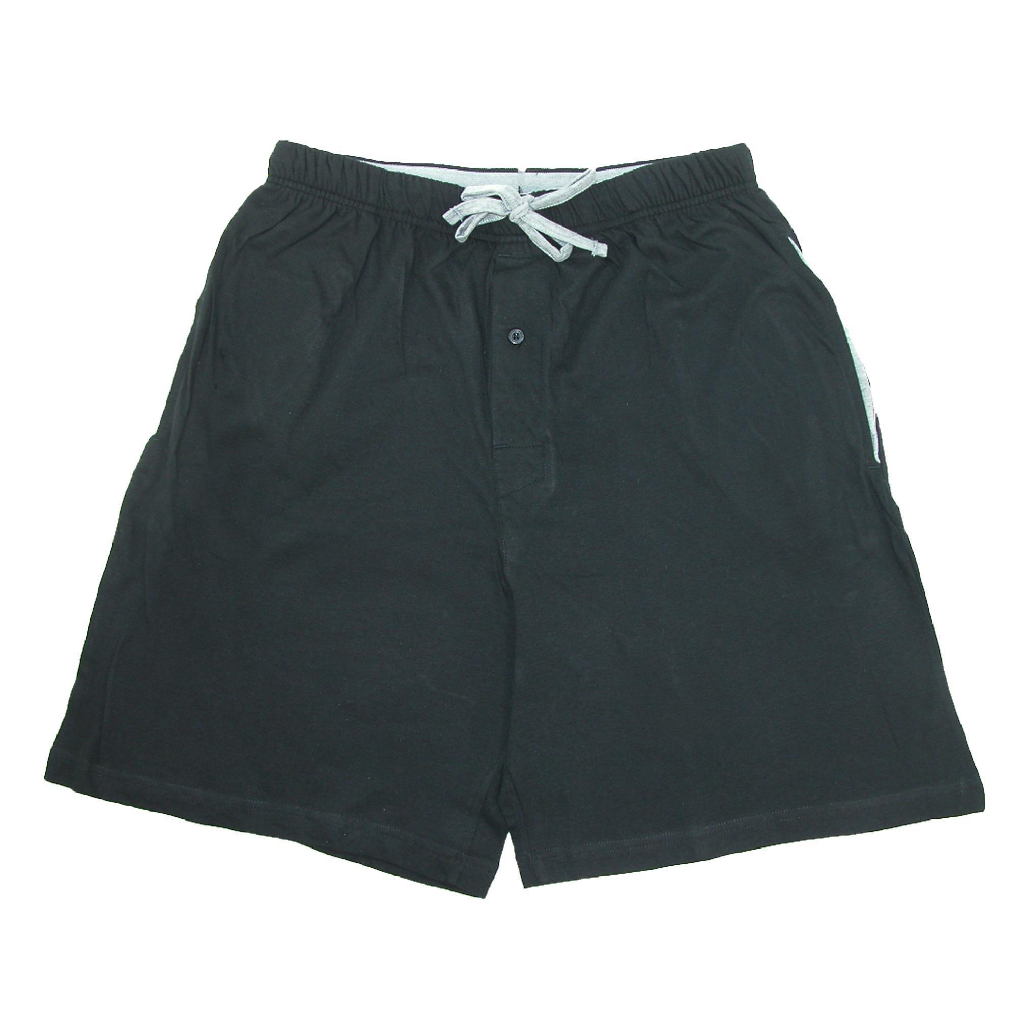 Hanes Men's Jersey Knit Cotton Button Fly Pajama Sleep Shorts, Large, Black