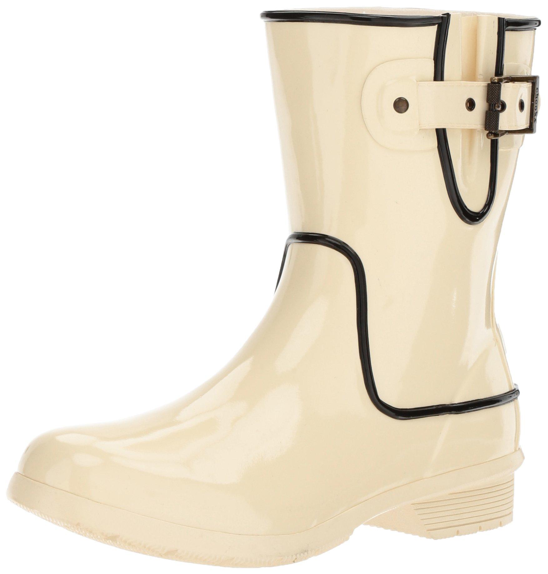 Chooka Women's Waterproof Mid-Height Printed Memory Foam Rain Boot, Fine Line Ivory, 9 M US