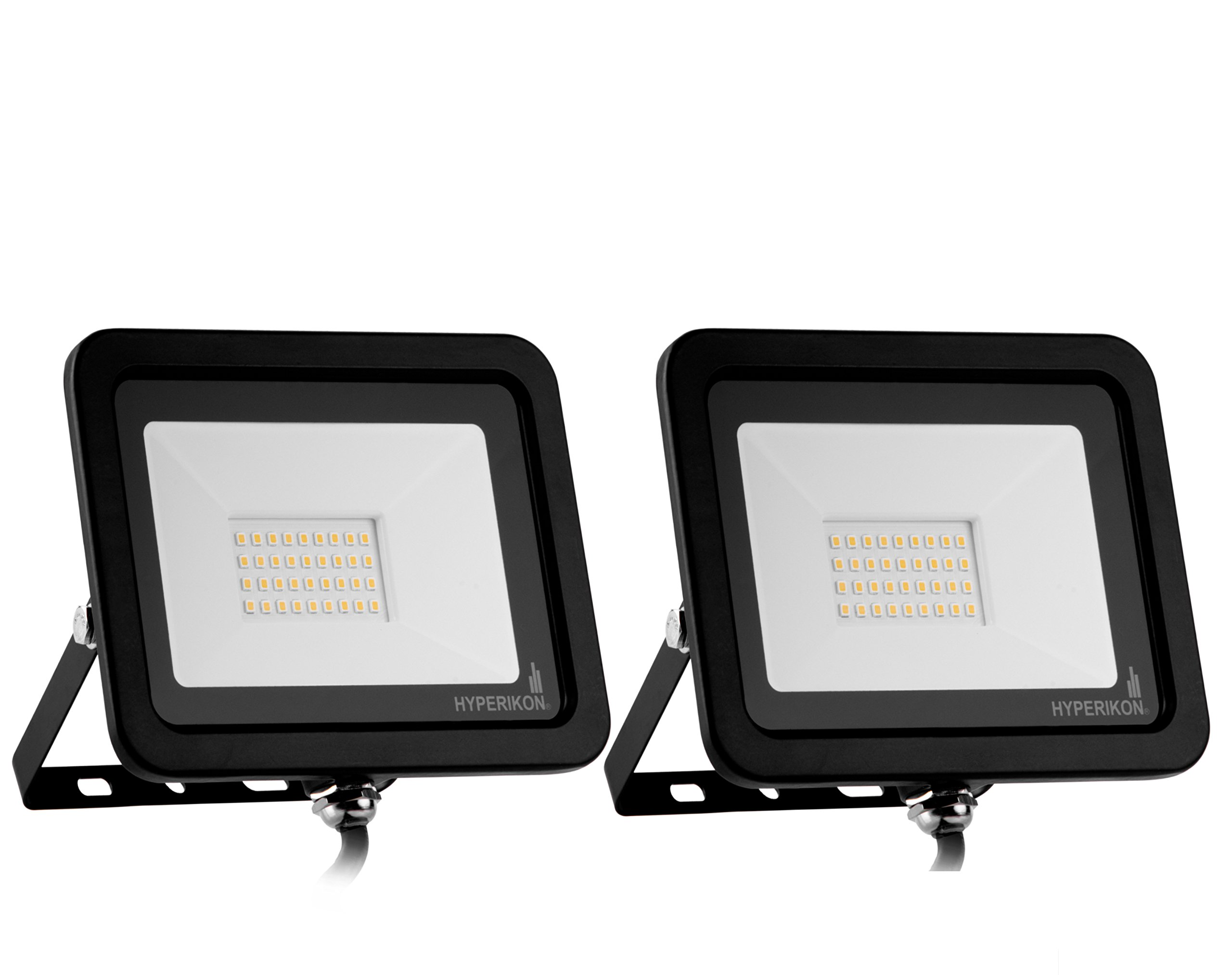 Hyperikon 30W LED Flood Light with 180° Rotatable Bracket, 5000k, 2400 Lumens, Super Bright Outdoor LED Floodlight, Weatherproof IP65, UL Suitable for Dry and Damp Locations, 110V, 2-Pack