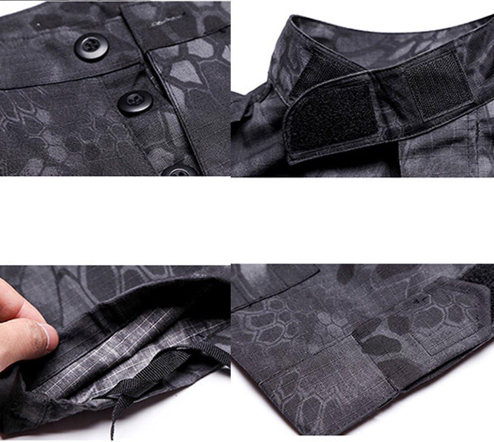 QMFIVE Uniformes t/ácticos Camuflaje Camo Camo Combat BDU Chaqueta Camisa y Pantalones Uniforme Juego de Guerra Ej/ército Paintball Militar Airsoft Caza Disparo Camo