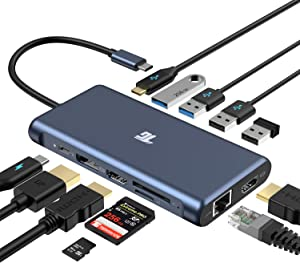 USB C Hub,Tiergrade 12 in 1 Triple Display Adapter with 2 4K HDMI,DisplayPort,PD 3.0,Ethernet,USB-A USB-C Ports,TF/SD Card Reader for MacBook and Type-C Laptops(Triple Displays Only for Windows)