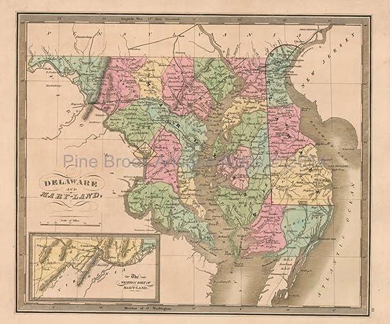 Delaware Maryland Antique Map Greenleaf 1844 Original at Amazon\'s ...
