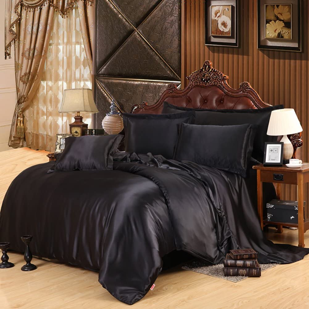 Lldaily 4-Piece Imitated Silk Fabric Duvet Cover Set,Luxury Bedding Sets,Silk Sheet Set with Ultra Soft Duvet cover+Pillowcases+Flat Sheet,Queen,Black