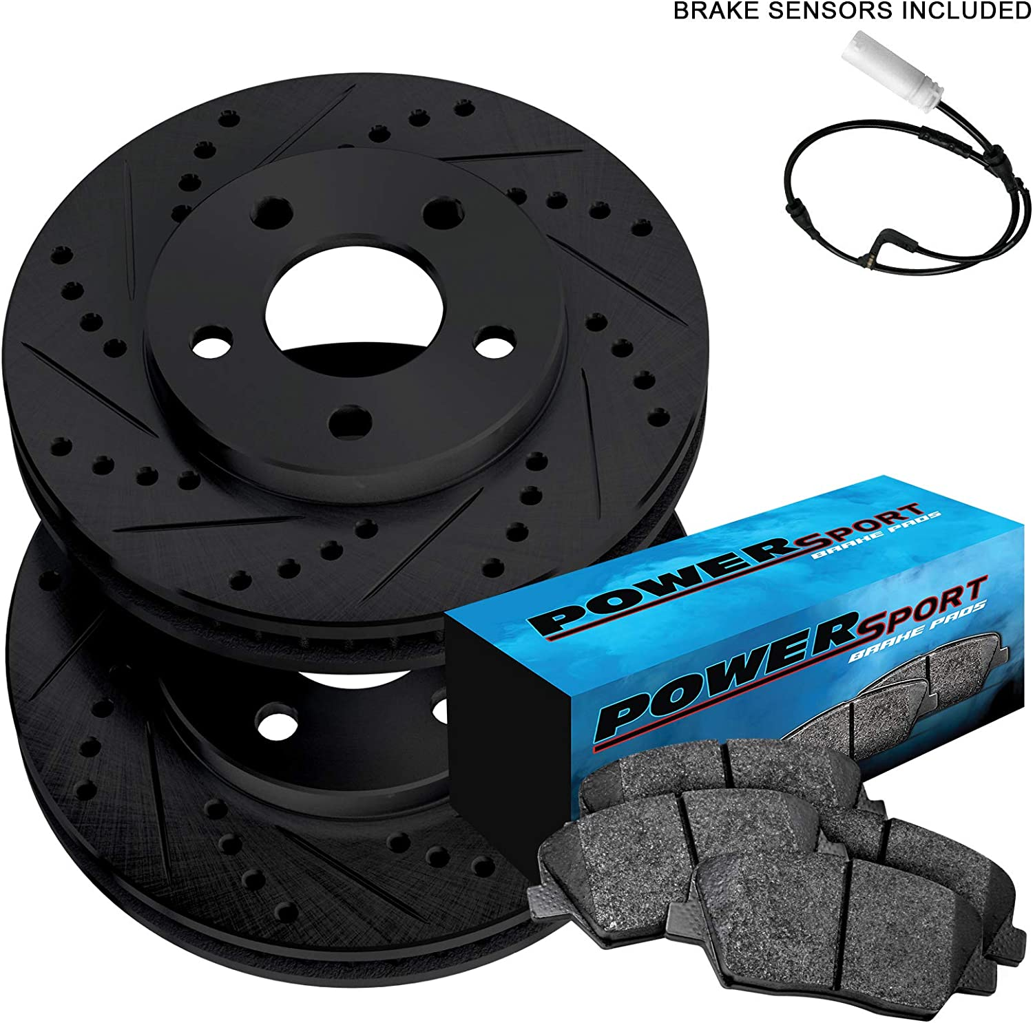 POWERSPORT *DRILLED /& SLOTTED* Brake Rotors Front Kit CERAMIC Pads