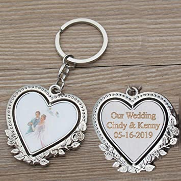 Personalized Spinning Wedding Keychain Favor (12 PCS) - Engraved Heat Metal  Key Ring/Anniversary
