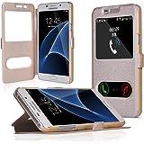 UKDANDANWEI Samsung Galaxy J5(2016) [YDT] Hülle Case - Magnetisch Leder Tasche Flip Case Cover Schutzhülle Etui Hülle Schale mit Fenster Ansicht Für Samsung Galaxy J5(2016)- Gold