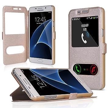 UKDANDANWEI Samsung Galaxy J7(2016) [YDT] Hülle Case Magnetisch Leder Tasche Flip Case Cover Schutzhülle Etui Hülle Schale mit Fenster Ansicht Für