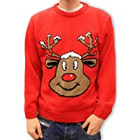 Sudadera navideña para Hombre Mujer Unisex Navidad: Reno sonriente. Rojo. XS a XXL