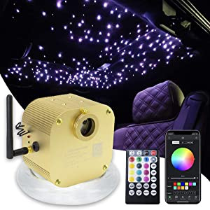 16W Bluetooth Twinkle Fiber Optic Star Ceiling Lights Lamp Kit, LED RGBW Engine Driver APP/Remote Control + Crystal + Mix 430 Strands Fibre Optical Cables (0.75mm+1mm+1.5mm) 13.1ft/4m Long