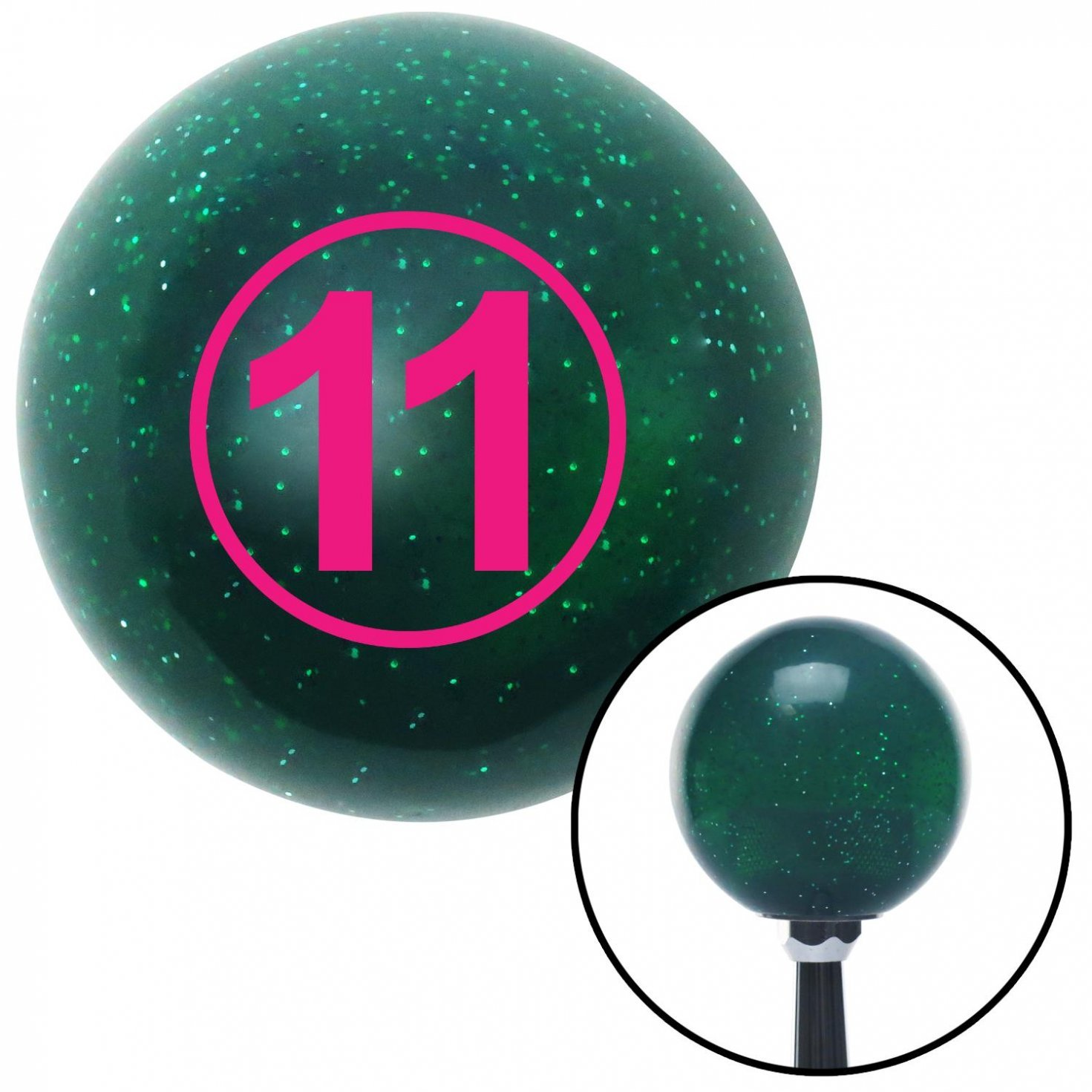 Pink Ball #11 American Shifter 61490 Green Metal Flake Shift Knob with 16mm x 1.5 Insert