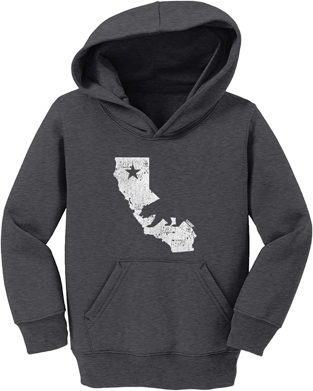 California Bear Toddler//Youth Fleece Hoodie Tcombo Cali State Map