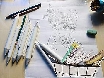 NATUCE 20 M/élange de souches et de tortillions avec 2 Taille-Crayon /à Papier de Verre,1 Outil dextension de Crayon e1 Gomme mie de Pain pour Les /étudiants Artistes Croquis Dessin