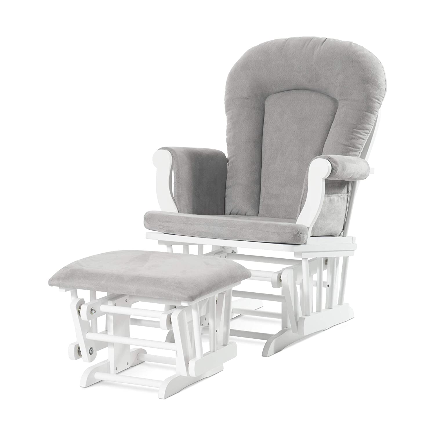 Forever Eclectic by Child Craft Cozy Glider and Ottoman, Matte White with Light Gray Cushion