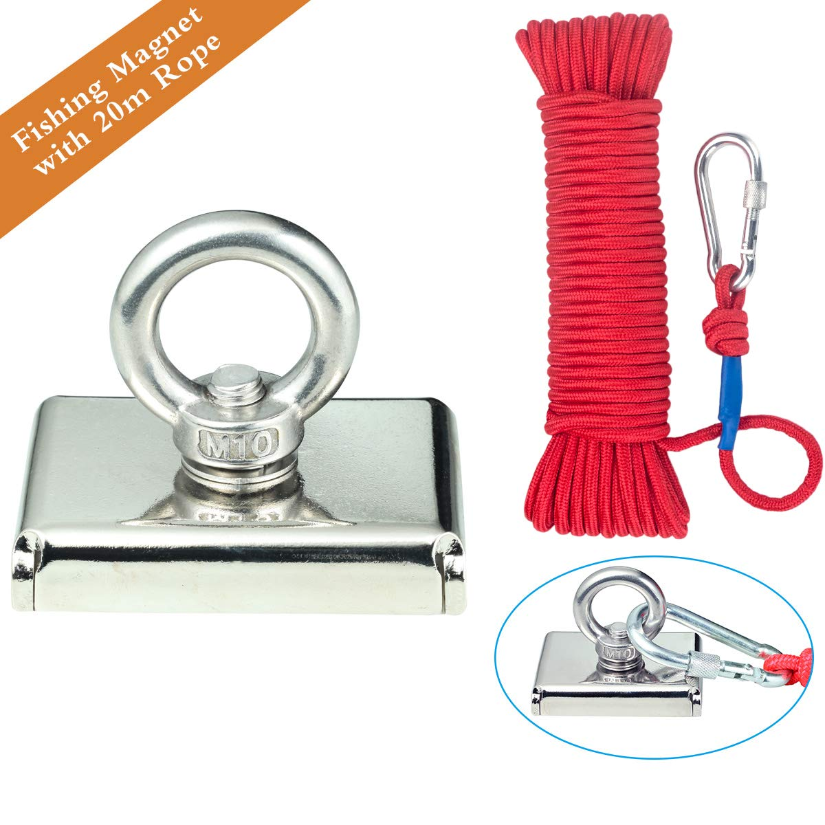 Powerful Retrieving and Holding Magnet with 66 ft Rope, Length 75mm,Wukong Fishing Magnet with Eyebolt,242LBS(110kg) pulling force for Sciences, Industry,Fishing and Salvage