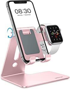 OMOTON Apple Watch Charging Stand - 2 in 1 Adjustable Aluminum Phone Stand Holder Dock for Apple Watch SE/6/5/4/3/2/1, Apple Watch charger stand for iPhone 12 Mini/Pro/11 Pro/Xs/Xs Max/XR, Rose Gold