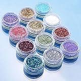 BOMIEN 12pcs Color Glitter Dust Powder Tip Decoration Nail Art