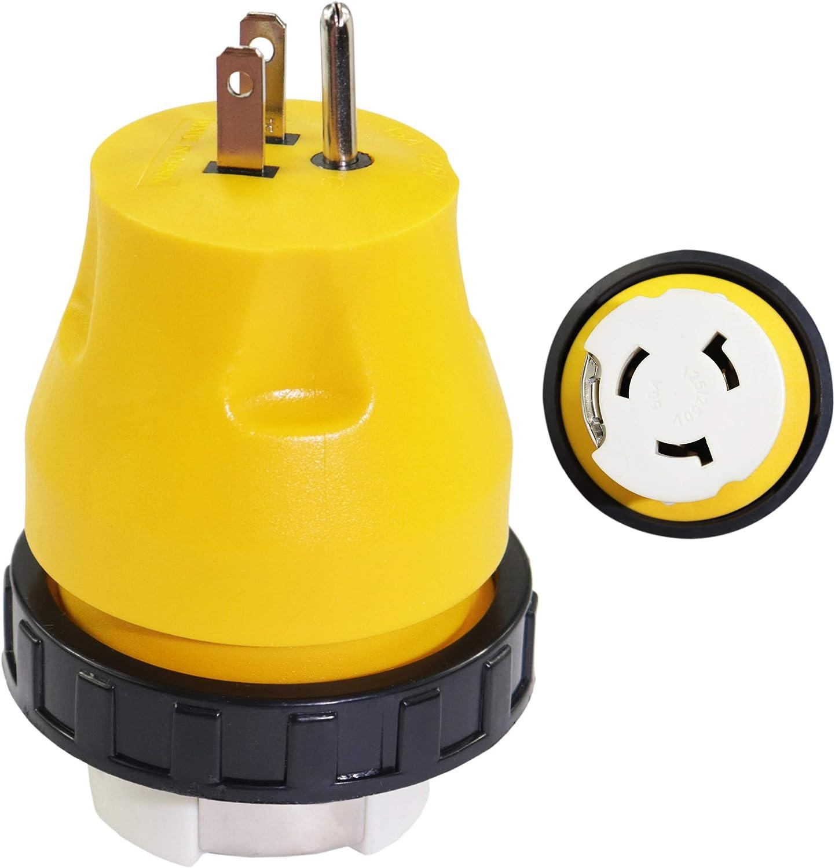 Aramox RV Adapter Plug,RV Adapter Plug,125V RV Power Cord Adapter 30A Male to 30A Female Connector Plug